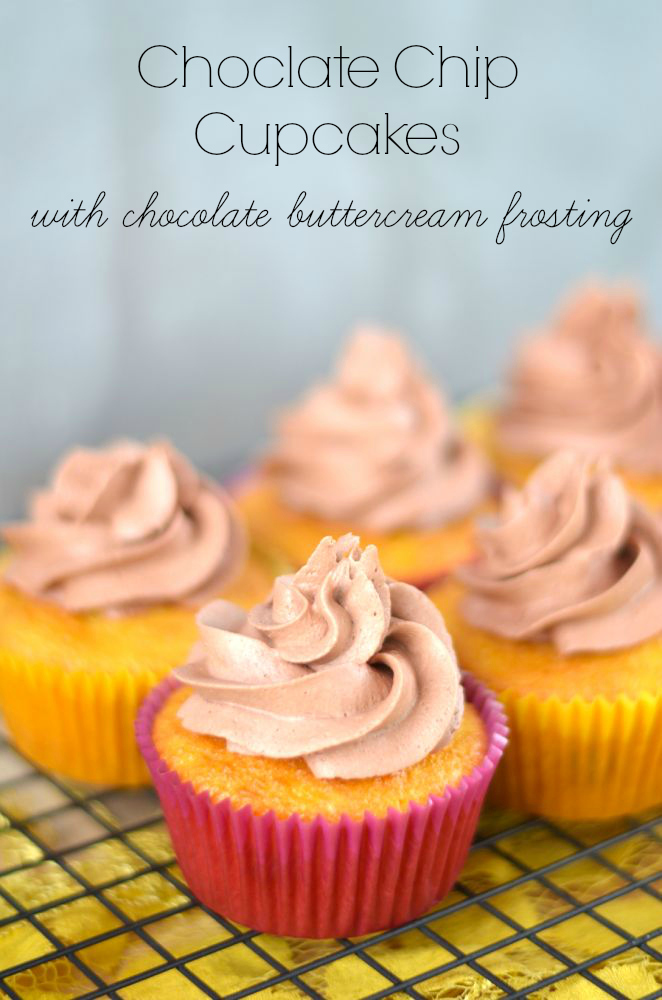 Chocolate chip cupcakes with chococlate buttercream frosting