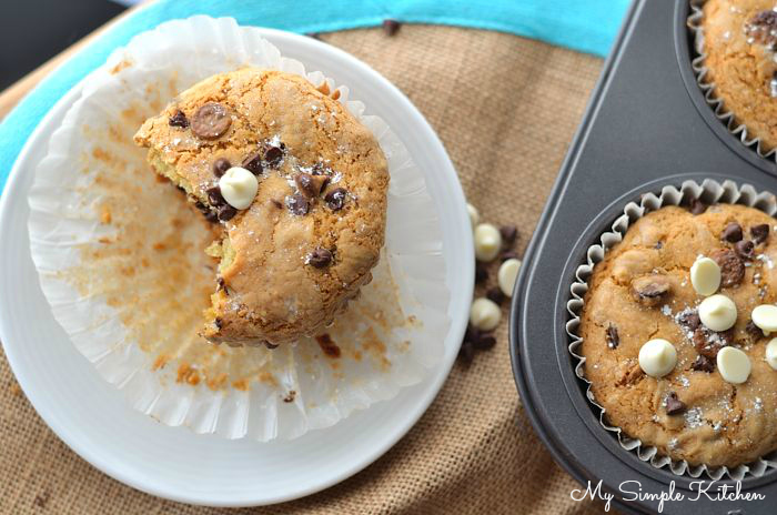 These Triple Chocolate Chip Cookie Muffins are just the thing to start your day! A little dense and a little sweet, it's like eating dessert for breakfast!